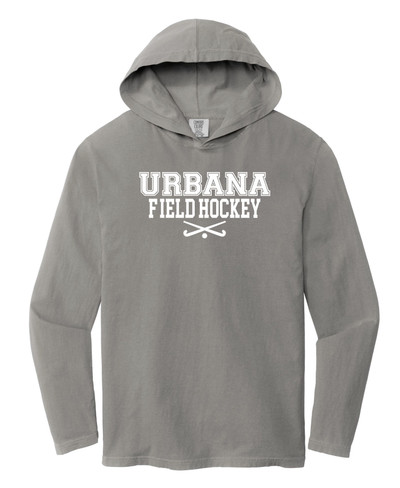 Urbana FIELD HOCKEY Sticks T-shirt Cotton Long Sleeve Hooded Shirt COMFORT COLORS Many Colors Available SZ S-2XL GREY