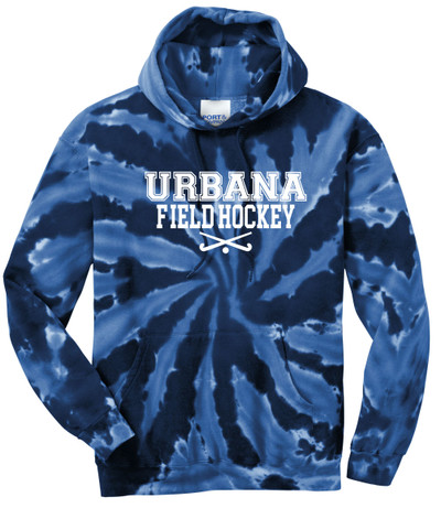Urbana FIELD HOCKEY Sticks Cotton Hoodie Sweatshirt Tie Dyed Navy Spiral SZ S-3XL