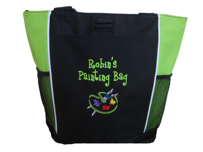 Art Artist Painting Palette Teacher Personalized Bag Lime Green Font Style Girlz