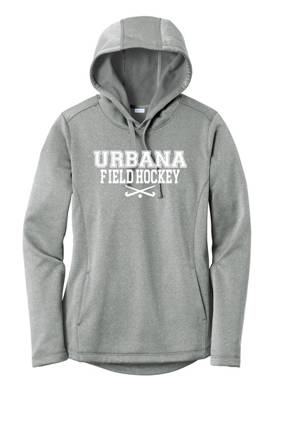 Urbana FIELD HOCKEY Hooded Performance PosiCharge Heather Fleece Pullover Sweatshirt Sticks LADIES Sizes XS-4XL Many Colors Available  DARK SILVER HEATHER