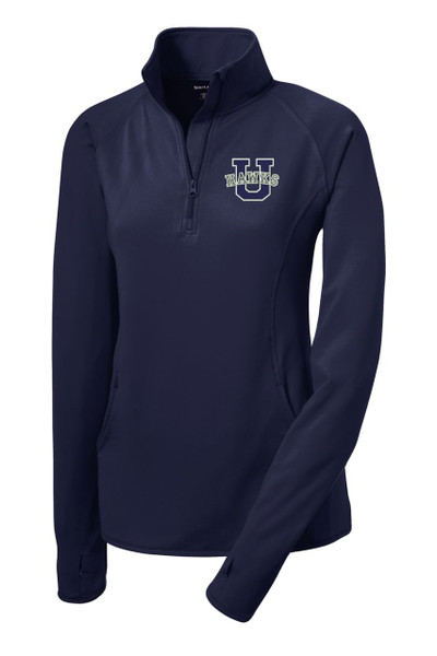 Urbana Hawks Half Zip Performance Stretch LADIES Sport Wick Polyester Spandex Pullover Many Colors Available Sizes S-3XL NAVY