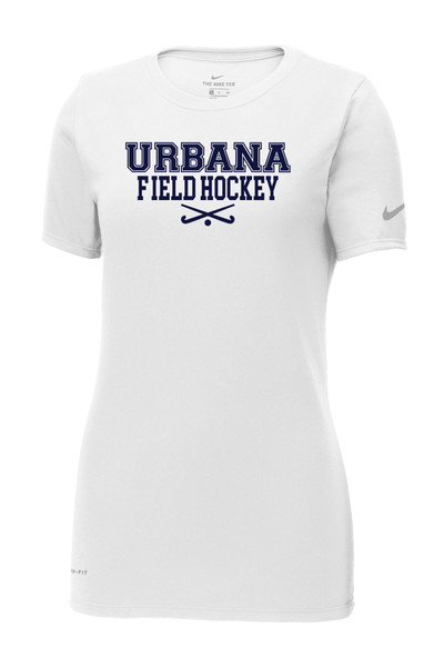 Urbana FIELD HOCKEY T-shirt NIKE Cotton/Poly DRI-FIT  Many Colors Available LADIES Sz S-2XL WHITE