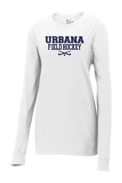 Urbana FIELD HOCKEY T-shirt NIKE LONG SLEEVE Sticks LADIES Cotton White or Black Color AvailableSZ S-2XL  WHITE