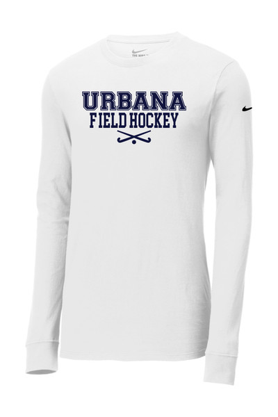 Urbana FIELD HOCKEY T-shirt LS NIKE Cotton Many Colors Available SZ S-3XL WHITE