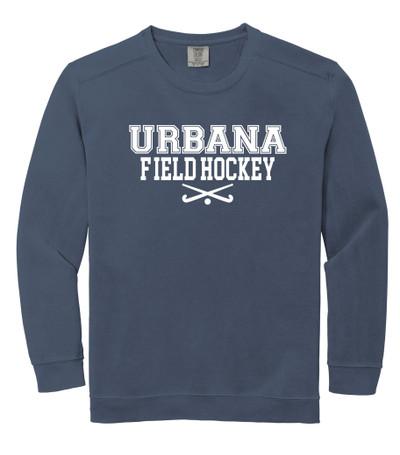 Urbana FIELD HOCKEY Cotton Crewneck COMFORT COLORS Sweatshirt Many Colors Available Size S-3XL DENIM BLUE