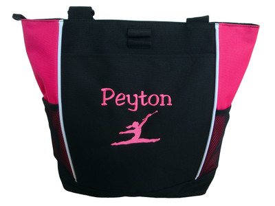 Twirler Gymnastics Cheer Personalized Embroidered Zippered Tote Bag Hot Pink Font Girlz