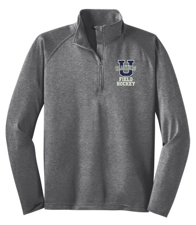 Urbana Hawks Half Zip FIELD HOCKEY Performance Stretch Sport Wick HEATHER Polyester Spandex Pullover Many Colors Available SIZES S-3XL  CHARCOAL GREY HEATHER