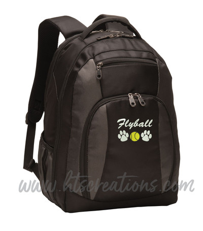 Flyball Dog Paw Prints Tennis Ball Frisbee Sports Agility K9 Service Personalized Embroidered Monogram Backpack Black Charcoal  ATHLETIC SCRIPT