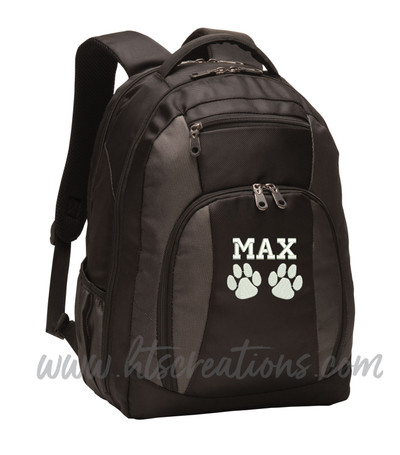 Dog Paw Prints Puppy Rescue Sports Agility K9 Service Personalized Embroidered Monogram Backpack Black Charcoal  FONT STYLE VARSITY