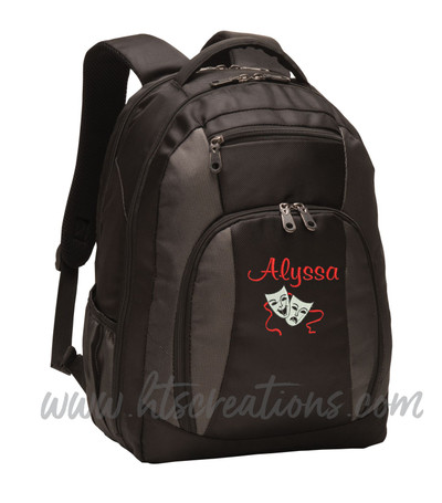 Theater Drama Masks Comedy Tragedy Glee Club Theatre Personalized Embroidered Monogram Backpack Black Charcoal FONT STYLE CASUAL SCRIPT