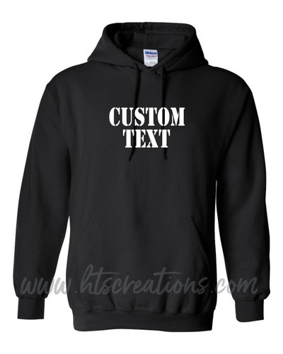 Hoodie Cotton Sweatshirt Custom Text MILITARY STENCIL FONT Many Colors Available UNISEX SZ S-5XL BLACK