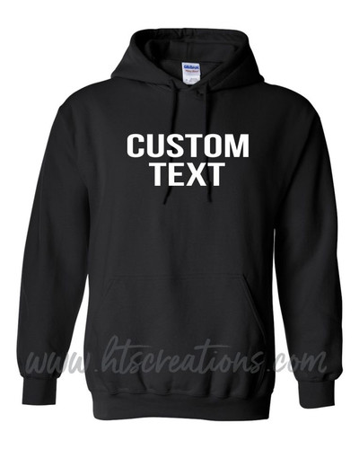 Hoodie Cotton Sweatshirt Custom Text BLOCK CAPS FONT Many Colors Available UNISEX SZ S-5XL BLACK