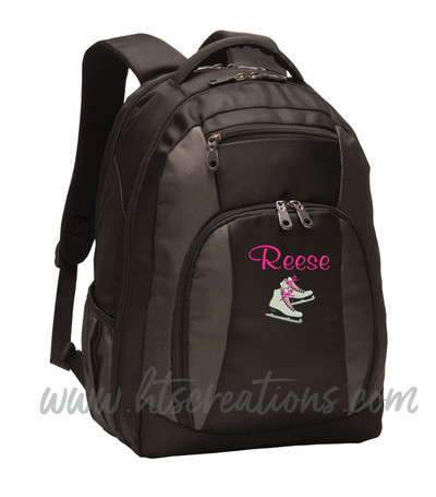 Ice Skates Skating Dance Sports Personalized Embroidered Backpack with Waterbottle Holder Font Style CASUAL SCRIPT