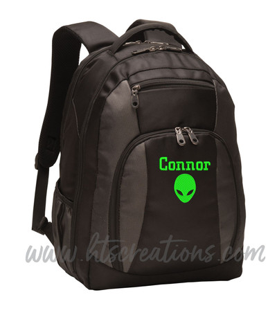 Alien Head Area 51 UFO Extraterrestrial Personalized Embroidered Backpack  with Waterbottle Holder FONT STYLE CHICAGO