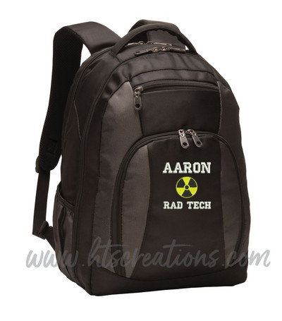 Radiation Radiologist Rad Tech RT MRT CRT R AART BD Medical Radiologist X-ray Personalized Embroidered Backpack FONT STYLE VARSITY