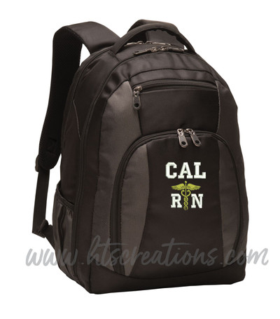 Caduceus Nurse Nursing RN BSN LPN  LVN ER OT PT Physical Therapy Medical Personalized Embroidered Backpack with Waterbottle Holder FONT STYLE VARISTY