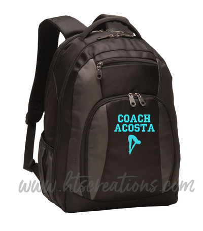 Diver Diving Swim Silhouette Sports Personalized Embroidered Monogram Backpack Waterbottle Holder  FONT Style  VARSITY