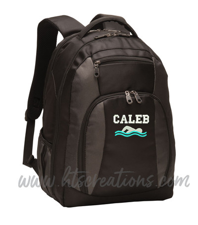 Swim Swimming Icon Diver Diving Aquatic Sports Personalized Embroidered Monogram Backpack Waterbottle Holder FONT Style VARSITY