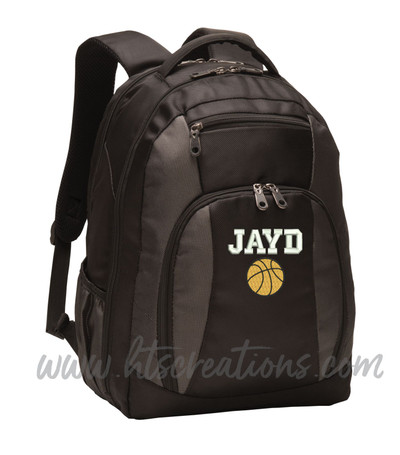 Basketball Balling Coach Sports Personalized Embroidered Monogram Backpack Waterbottle Holder FONT Style VARSITY
