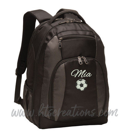 Soccer Ball Coach Sports Personalized Embroidered Monogram Backpack Waterbottle Holder FONT Style ALEXIS