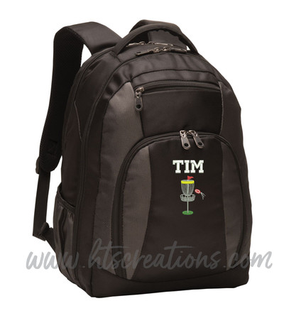 Frisbee Golf Disc Sports Personalized Embroidered Monogram Backpack Waterbottle Holder FONT Style VARSITY