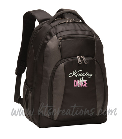Dancers Dance Ballet Modern Personalized Embroidered Backpack  with Waterbottle Holder FONT Style ALEXIZ