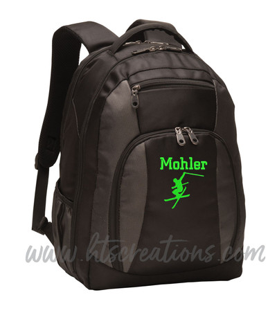 Ski Skiing Downhill Extreme Mountain  Silhouette Sports Personalized Embroidered Monogram Backpack Waterbottle Holder Font Style CHICAGO