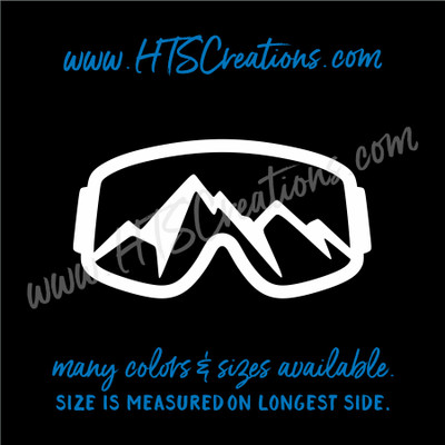 Ski Goggles Snowboarding Mountain Downhill Extreme Sports Vinyl Decal Laptop Car Mirror Truck WHITE