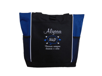 Speaking Bubble Speech Language Pathologist SLP Autism Personalized Embroidered Zippered ROYAL BLUE Tote Bag Font Style CASUAL SCRIPT