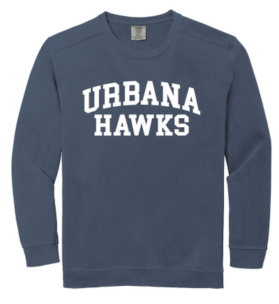 Urbana Hawks Crewneck Sweatshirt COMFORT COLORS Unisex Mens Sizing S M L 2XL 3XL DENIM