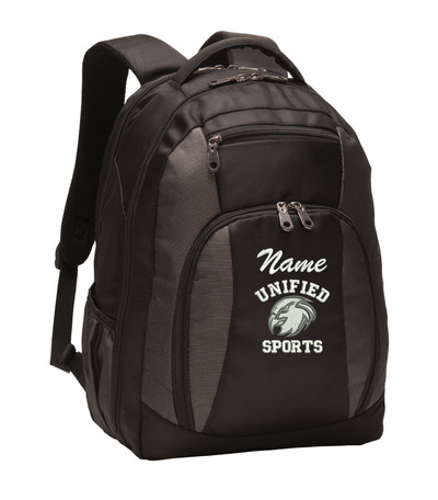 UHS Urbana Hawks Head UNIFIED SPORTS Personalized Embroidered Backpack Charcoal Black Free NAME Monogrammed  (Font style shown for name is Athletic Script)