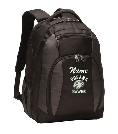 UHS Urbana Hawks Head Personalized Embroidered Backpack Charcoal Black Free NAME Monogrammed (Font style shown for name is Athletic Script)