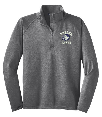 UHS Urbana Hawks Head Half Zip Performance Stretch Sport Wick HEATHER Polyester Spandex Pullover Many Colors Available SIZES S-3XL CHARCOAL GREY HEATHER