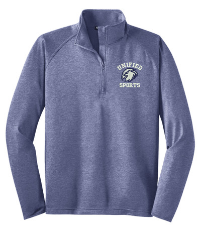 UHS Urbana Hawks Head Half Zip UNIFIED SPORTS Performance Stretch Sport Wick HEATHER Polyester Spandex Pullover Many Colors Available SIZES S-3XL