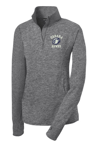 UHS Urbana Hawks Head Half Zip Performance Stretch LADIES Sport Wick HEATHER Polyester Spandex Pullover Many Colors Available SIZES S-3XL CHARCOAL GREY HEATHER