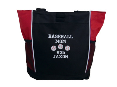 Baseball Softball Sports Team Mom Custom Personalized RED Tote Bag Font Style VARSITY