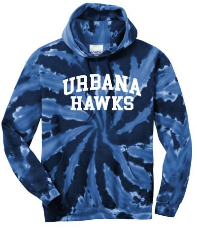 UHS Urbana Hawks Cotton Hoodie Sweatshirt Tie Dyed Navy Spiral SZ S-3XL