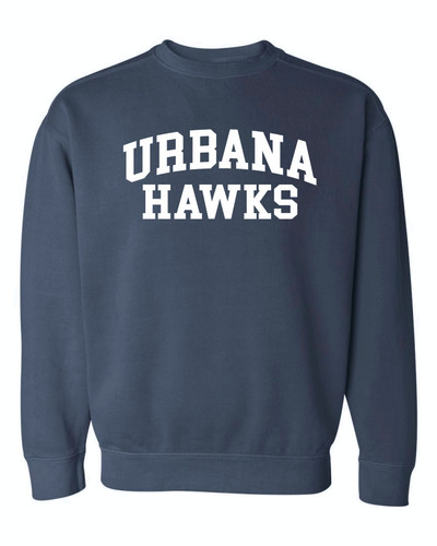 UHS Urbana Hawks Crewneck Sweatshirt COMFORT COLORS Many Colors Available Sizes S-3XL  DENIM