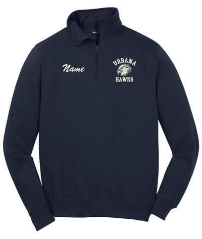 UHS Urbana Hawks Head Qtr Zip Cotton Pullover Many Colors Available SZ S-4XL NAVY with NAME PERSONALIZATION