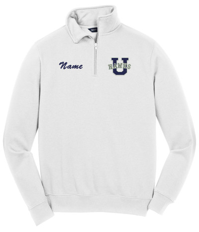 UHS Urbana U Varsity Qtr Zip Cotton Pullover Many Colors Available SZ S-4XL WHITE NAME PERSONALIZED