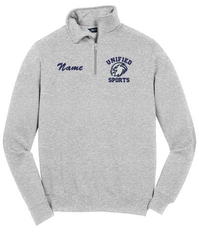 UHS Urbana Hawks Head UNIFIED SPORTS Qtr Zip Cotton Pullover Many Colors Available SZ S-4XL ATHLETIC HEATHER with NAME PERSONALIZATION