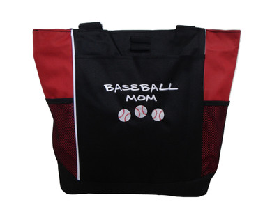 Baseball Softball Sports Team Mom Custom Personalized RED Tote Bag Font Style MARKER CAP