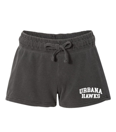 UHS Urbana Hawks UNIFIED SPORTS Shorts French Terry COMFORT COLORS PEPPER Shorts LADIES SZ S-XL