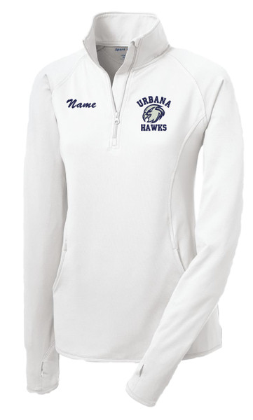 UHS Urbana Hawks Half Zip Performance Stretch LADIES Sport Wick Polyester Spandex Pullover Many Colors Available SIZES S-4XL WHITE with NAME PERSONALIZATION