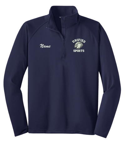 UHS Urbana Hawks UNIFIED SPORTS Half Zip Performance Stretch Sport Wick Polyester Spandex Pullover Many Colors Available SZ S-3XL NAVY w/NAME PERSONALIZAITON