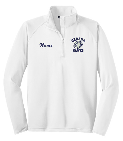 UHS Urbana Hawks Half Zip Performance Stretch Sport Wick Polyester Spandex Pullover Many Colors Available SZ S-3XL WHITE w/NAME PERSONALIZATION