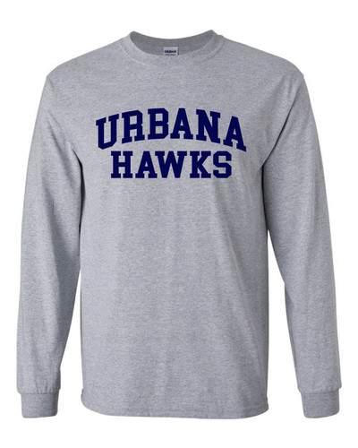 UHS Urbana Hawks T-shirt Cotton LONG SLEEVE Many Colors Available SZ S-3XL SPORTS GREY