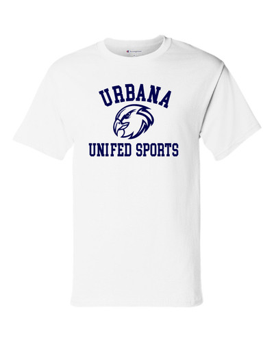 UHS Urbana Hawks T-shirt Cotton CHAMPION UNIFIED SPORTS Many Colors Available Sz S-3XL WHITE