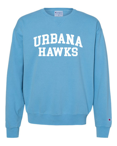 UHS Urbana Hawks Cotton Crewneck Sweatshirt CHAMPION Garment Dyed Many Colors Available Sz S-3XL DELICATE BLUE