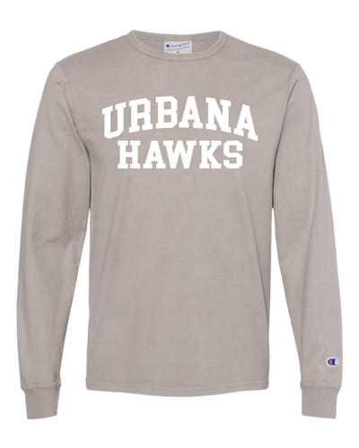 UHS Urbana Hawks Cotton T-shirt LONG SLEEVE CHAMPION Garment Dyed Many Colors Available Sz S-3XL CONCRETE